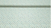 Tela Patchwork Lino Círculos - Tela de aspecto lino o half panamá ideal para Patchwork, con dibujos de círculos en colores beige/marróny grises sobre un fondo blanco. La tela mide 140cm de ancho y su composición 50% poliester –40% algodón –10%