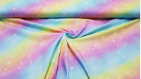 Cotton Rainbow Galaxy Digital fabric - Digital printing cotton fabric with drawings of rainbows and stars simulating the galaxy. A beautiful and colorful fabric! The fabric is 150cm wide and its composition is 100% cotton.