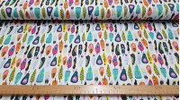Cotton Colorful Feathers fabric - Digitally printed cotton fabric with colorful feather patterns on a white background. The fabric is 150cm wide and its composition is 100% cotton.