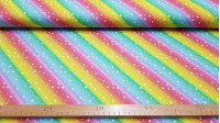 Digital Cotton Rainbow Stars fabric - Digital printing cotton fabric with drawings of rainbows and white stars. A beautiful and very colorful fabric! The fabric is 150cm wide and its composition is 100% cotton.