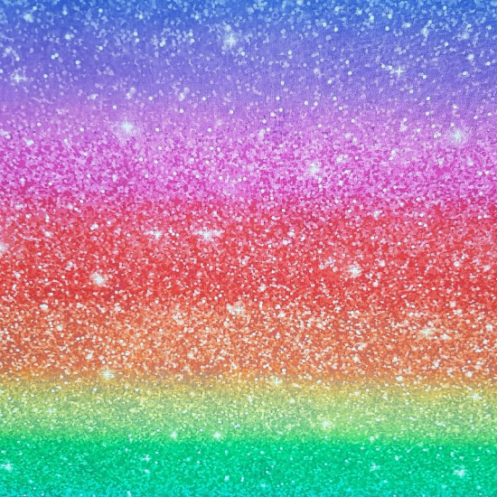 Cotton Shiny Rainbow fabric - Digital print cotton fabric with rainbow drawing with bright sprinkles. Beautiful fabric! The full color is repeated approximately every meter, as can be seen in one of the photos. The fabric is 150cm wide and its co