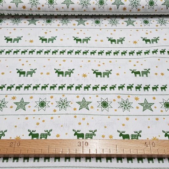 Cotton Navidad Renos Estrellas fabric -