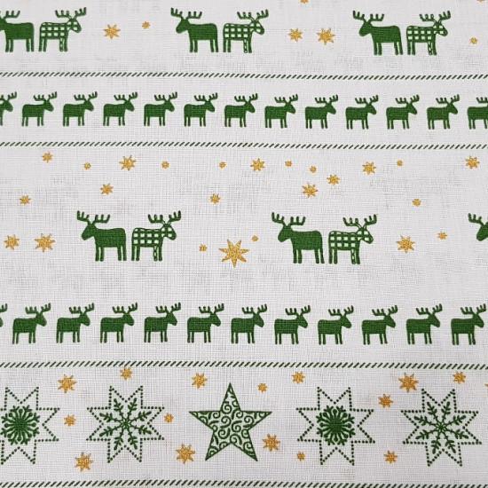 Tela Algodón Navidad Renos Estrellas - Tela navideña de algodón con dibujos de renos y estrellas en dos tonalidades diferentes a elegir, y cenefas de renos seguidos que la hace una tela muy original e ideal para tus manualidades y decoracionesde navidad.