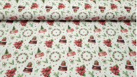 Cotton Christmas Crystal Balls fabric - Cotton fabric with drawings of Christmas glass balls, plants and branches, poinsettias and red stars on a white background. The fabric is 150cm wide and its composition 100% cotton.