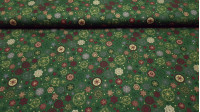 Cotton Christmas Stars Flakes Green Background fabric - Christmas cotton fabric with drawings of stars and snowflakes in various colors on a green background. The fabric is 140cm wide and its composition 100% cotton.