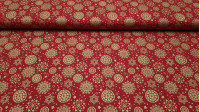 Cotton Christmas Flakes Hearts Red Background fabric - Christmas fabric with golden snowflakes, hearts in the shape of a circle and stars on a red background. The fabric is 140cm wide and its composition 100% cotton.