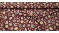 Cotton Christmas Gingerbread Cookies fabric - Organic cotton fabric with Christmas-themed drawings featuring gingerbread cookies in the shape of stars, hearts, dolls, moons, fir trees... on a dark red background. The fabric is 150cm wide and its compositi