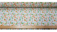 Tela Algodón Navidad Mini Dibujos - Tela de algodón empesa impresión digital con dibujos pequeños representativos de la navidad sobre un fondo blanco. La tela mide 140cm de ancho y su composición 100% algodón.