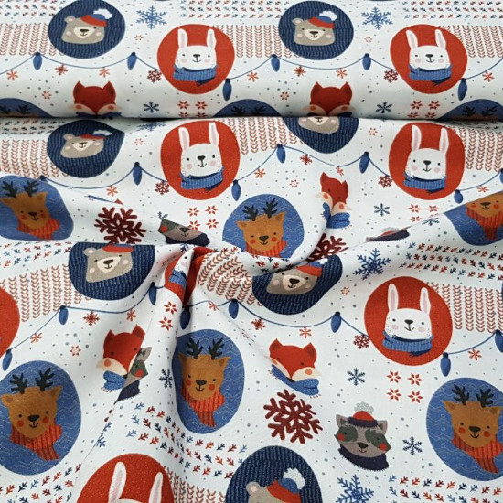 Cotton Christmas Animals Sheltered Circles fabric - Christmas themed organic cotton fabric with drawings of animals with scarf and hat inside circles on a background decorated with Christmas decorations, snowflakes, garlands... The fabric is 150cm wide an
