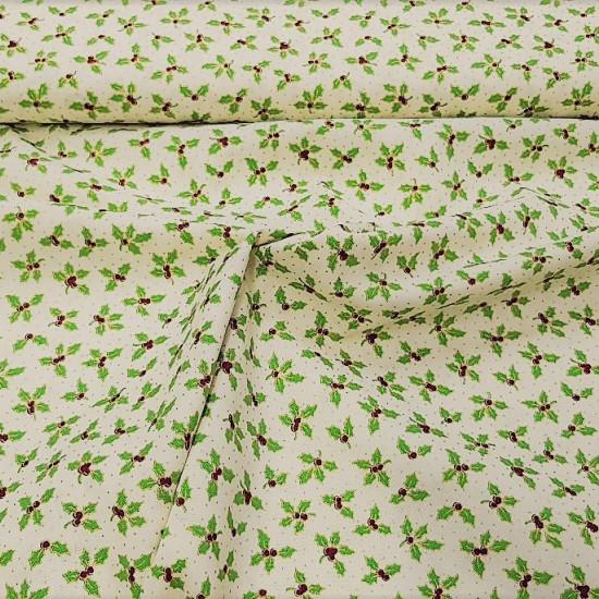Tela Algodón Navidad Acebos - Tela de algodón navideña con dibujosde acebos en tonos dorados sobre varios fondos a elegir. Preciosa tela para decorar nuestro hogar. La composición de la tela es 100% algodón y mid