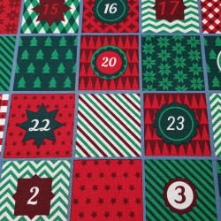 Cotton Christmas Advent Green Red