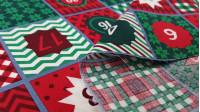 Tela Algodón Navidad Adviento Verde Rojo - Tela de algodón con dibujo de calendario de adviento donde predomina el color verde y rojo. El calendario se repite cada 45cm, por lo que en este caso no se admiten cortes de 20cm. La tela mide 140cm de ancho