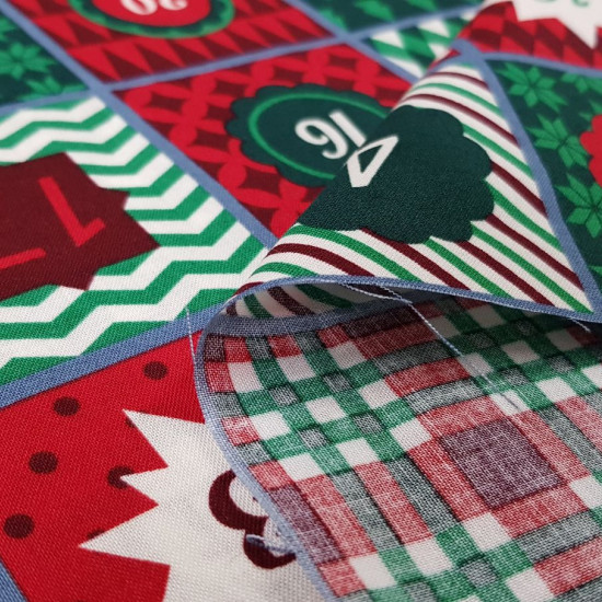 Cotton Christmas Advent Green Red fabric - Cotton fabric with an advent calendar drawing where green and red predominate. The calendar repeats every 45cm, so in this case 20cm cuts are not allowed. The fabric is 140cm wide and its composition 100% cotton