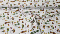 Cotton Christmas Gifts Golden Bows fabric - Cotton poplin fabric with Christmas-themed drawings inspired by gifts in red and green colors with gold bows and other elements on a white background. The fabric is 150cm wide and its composition is 100% cotton.