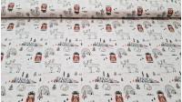 Tela Algodón Esquimales Renos - Bonita tela de algodón de temática navideña, con dibujos de esquimales, renos, iglús, árboles y lobos, sobre fondo blanco. La tela tiene un ancho de 150cm y la composición es 100% algodón.