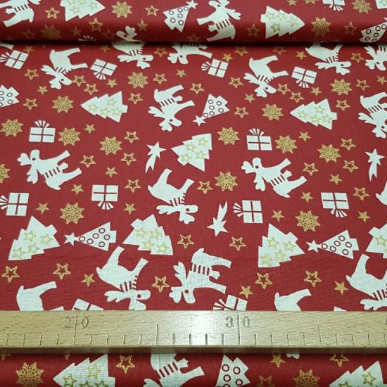 Tela Algodón Navidad Renos Avetos - Tela de algodón temática de navidad con dibujos de renos,avetos, regalos y estrellas de color blancoy estrellas doradas sobre varios fondos a elegir. La tela mide 140cm de ancho y la composición 100% algodón.