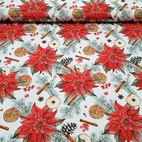 Tela Algodón Navidad Poinsettia Canela - Tela de algodón muy colorida con dibujos de poinsettias o flores de pascua, ramas de canela, piñas y naranjas sobre fondo blanco. Ideal para decoración denavidad. La tela mide 140cm de ancho y su composición es 10