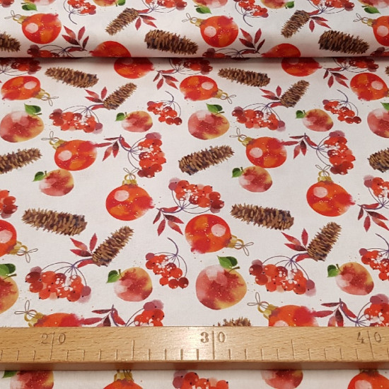 Cotton Christmas Balls Pinions fabric - Christmas cotton fabric with drawings of red Christmas balls, pine nuts and red flowers on a white background. Ideal for Christmas decoration.