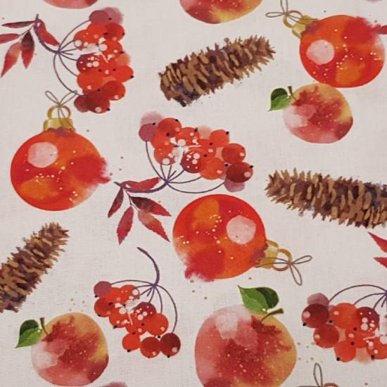 Tela Algodón Navidad Bolas Piñones - Tela de algodón navideña con dibujos de bolas rojas de navidad, piñones y flores rojas sobre fondo blanco. Ideal para decoración de navidad. La composición del tejido es 100% algodón y mide 140cm de ancho.