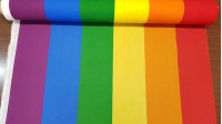 Rainbow Flag fabric - Rainbow flag fabric by the meter. The flag is the symbol of gay and lesbian pride (LGBT) The width of the fabric is 80cm and it has, in addition to the colored stripes, a thin white stripe at one end.
