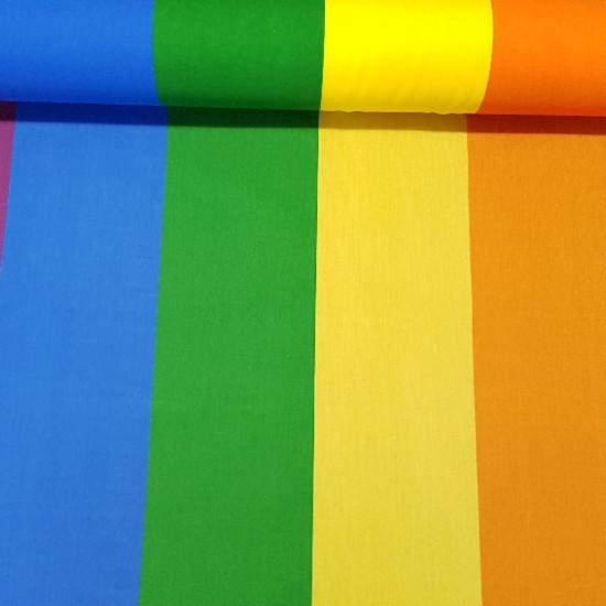 Tela Bandera Arcoiris LGBT - Tela de bandera arcoiris por metros. La bandera es el símbolo del orgullo gay y lésbico (LGBT) El ancho del tejido es de 80cm y posee, además de las franjas de color, una franja fina blanca en uno de los extremos.