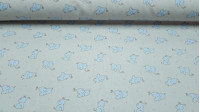 Pique Elephants fabric - Infant piquefabric with drawings of blue elephants on a gray background with pink stars. It is an ideal fabric to make children's garments such as lullabies, bags, bibs ... The fabric is 150cm wide and its ecomposit