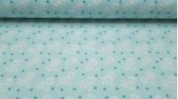 Tela Piqué Lunas Estrellas - Preciosa tela infantil de piqué canutillo con dibujos de lunas, estrellas y topitos blancos sobre un fondo verde menta. Es una tela muy apropiada para arrullos de bebé, cambiadores, baberos, bolsos y muchos más complemen