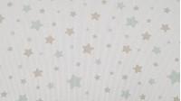 Tela Piqué Estrellas - Tela de piqué canutillo de algodón con dibujos de estrellas en varios tamaños de colores gris junto con varios colores a elegir sobre un fondo blanco. Es una tela, usada sobretodo para temática infantil y bebé (arrullos