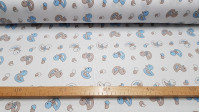 Pique Ducklings Blue Gray fabric - Piqué fabric printed with children's drawings of ducklings and eggs in blue and gray colors on a white background.
