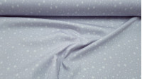 Piqué Stars Arturo fabric - Children's cotton piqué fabric with patterned white stars of various sizes on a gray background. The fabric is 150cm wide and its composition is 100% cotton.