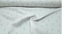 Tela Piqué Media Luna Puntitos Gris - Tela infantil de piqué canutillo algodón con dibujos de medias lunas grises con puntitos claros sobre un fondo blanco. La tela mide 150cm de ancho y su composición 100% algodón.