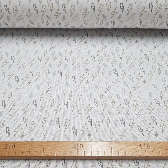 Pique Rays Khaki fabric - Fabric rays patterned cotton piquecanutillotoned gray and khaki on a white background. The fabric is 150cm wide and its composition is 100% cotton.
