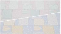 Tela Piqué Dibujo Patchwork - Tejido de Piqué de Canutillo con estampado de varios dibujos (estrellas, topos, flores, rayas...) superpuestos imitando a la manualidad del patchwork. Disponible en dos colores: Celeste y Rosa La tela mide 160cm
