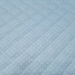 Quilted Pique White Polka Dot Light Blue Background