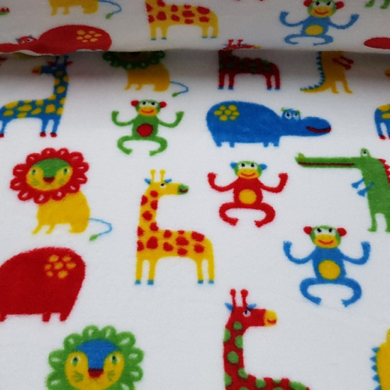 Coral Fleece Animal Jungle fabric - Coral fleece fabric with drawings of colorful animals. Monkeys, hippos, giraffes, lions and crocodiles appear on a white background.