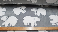 Coral Fleece Polar Bears fabric - Children's coral fleece fabric with drawings of white polar bears on a gray background. The fabric is ideal for blankets, gowns and other children's clothing. The fabric is 150cm wide and its composition 100% polyest