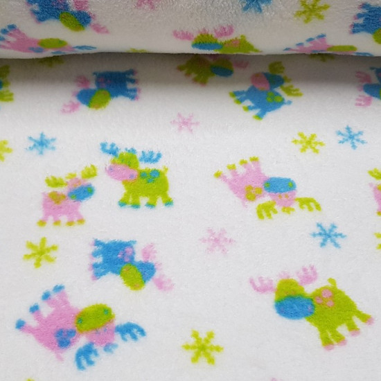 OUTLET Coral Fleece Reindeer fabric - Children's coral type polar fabric with reindeer drawings of various colors (green, blue, pink) on white background. Perfect for children's blankets or decorations and accessories.