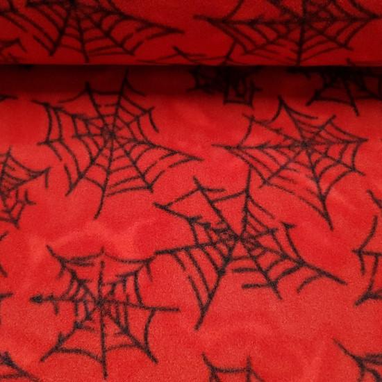 Tela OUTLET Polar Telarañas - Tela de Polar con dibujos de telarañas negras sobre fondo rojo. Esta tela polar es perfecta para confeccionar mantitas, chaquetas y mucho más! La tela mide 150cm de ancho y su composición 100% poliester. Tela Bar