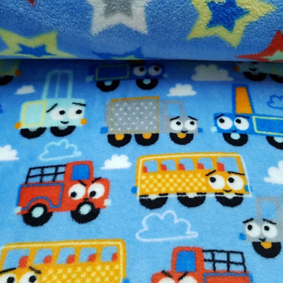 Coral Fleece Double Sided Cars and Stars fabric - Double-sided coral fleece fabric (a different drawing on each side) of children's theme. On one side there are drawings of cars, trucks and colored buses on a blue background with clouds and on the other s