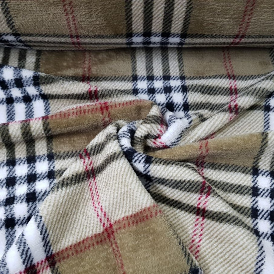 Coral Fleece Scottish Check Beige fabric - Coralfleece fabric with a Burberry-style Scottish check pattern, in beige and brown tones. Ideal for blanket and other confections. The fabric is 150cm wide and its composition is 100% polyester.