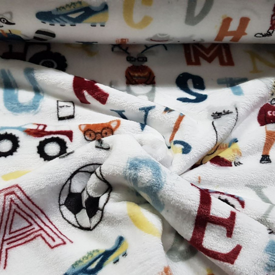Coral Fleece Letters Animals fabric - Children's coral fleece fabric, soft and pleasant to the touch, with drawings of letters, funny animals, balls, tractors... on a white background. The fabric is 150cm wide and its composition is 100% polyester.