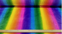 Coral Fleece Rainbow fabric - Coral fleece fabric with rainbow pattern. The stripes follow the length of the fabric. The fabric is 150cm wide and its composition is 100% polyester.