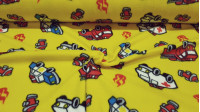 OUTLET Fleece Fire Trucks Ambulances fabric - Fleece fabric with drawings of fire trucks, ambulances and police cars on a yellow background. The fabric is 145cm wide and its composition is 100% polyester. Cheap fabric clearance outlet