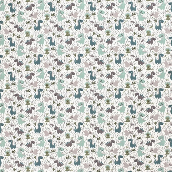 Jersey Dinosaurs Mint Gray fabric - Jersey fabric with children's drawings of dinosaurs in green and gray tones on a white background with black lines. The fabric is 150cm wide and its composition is 95% cotton - 5% elastane.