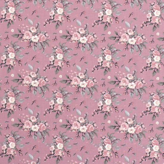 Jersey Bouquets Old Pink fabric - Jersey fabric with drawings of bouquets of roses on an old pink background. The fabric is 150cm wide and its composition is 95% cotton - 5% elastane.