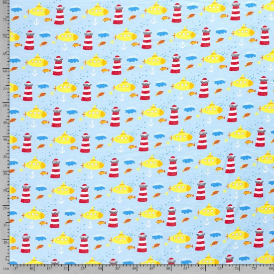 Jersey Digital Submarines Lighthouses fabric - Cotton jersey fabricdigital printing with drawings of yellow submarines, lighthouses, anchors and fish on a light blue background. The fabric is 150cm wide and its composition is 95% cotton - 5% elastane.