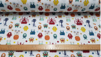Cotton Jersey Martian Bubbles fabric - Funny knitted cotton fabric for children with extraterrestrial themes with drawings of Martians of many types and colors on a white background and bubbles also of various background colors. The knitted fabric has spa