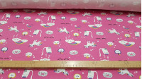 Cotton Jersey Unicorns Fuchsia fabric - Children's cotton knitted sweater with drawings of unicorns, rainbow clouds, donuts, stars ... on a fuchsia pink background. This fabric is ideal for children's clothing and other creations such as decoration, bags