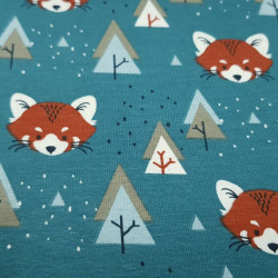 Cotton Jersey Foxes and Trees Blue Petrol