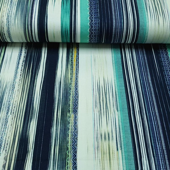 Cotton Jersey Bohemian Stripes Blue fabric - T-shirt cotton jerseyfabric with bohemian stripe drawings where zigzag and linear stripes are mixed and blue colors predominate. This knitted fabric is ideal for making dresses, skirts, shirts, blouses… The fa